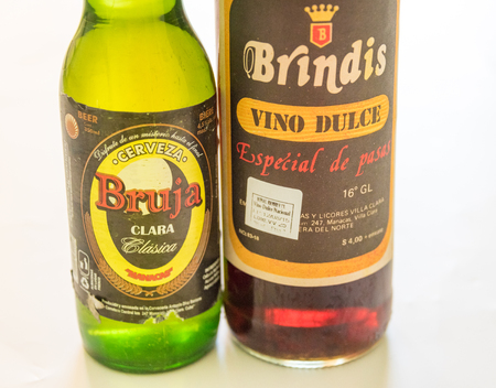 cuban culture: Cuba made products: Bruja beer and Brindis sweet wine both produced in Manacas, Villa Clara, Cuba.  Cuba is famous for its beverages like rum, beer and wine through which it promotes Cuban culture across the globe.