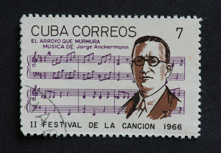 arroyo: Cuban 1966 stamp on El Arroyo Que Murmura by Jorge Anckermann. Stamp commemorating second Festival de la Cancion of 1966.  Jorge Anckermann was a Cuban pianist, composer and bandleader. Editorial