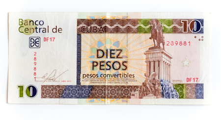 maximo: Different denominations of CUC: Diez pesos or ten pesos Cuban Convertible note depicting the monument of Maximo Gomez.  The convertible peso is one of two official currencies in use in Cuba, the other being the National peso.  In a move to unite the two c Editorial
