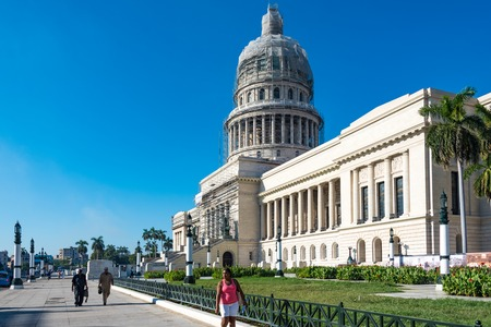 capitolio: Capitol Building or Capitolio in Havana,Cuba. The landmark is being revitalzed by a German company. Currently, the science academy building is use for the seat of the National Government of the island.
