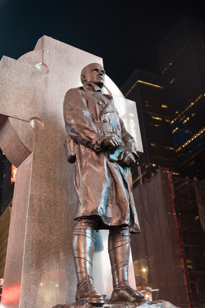 New York Scenes Francis P. Duffy statue in Times Square, New York City during night time  Francis Patrick Duffy (May 2, 1871 – June 27, 1932) was a Canadian American soldier, Roman Catholic priest and military chaplain.Duffy served as chaplain for the 69t