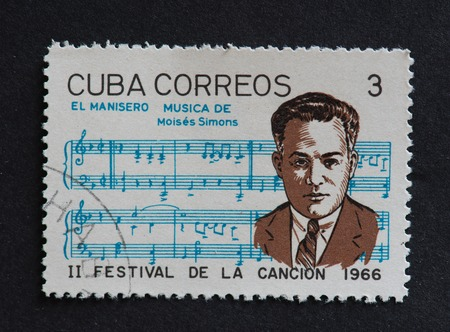 post stamp: Cuban 1966 stamp on El Manisero by Moises Simons. Stamp commemorating second Festival de la Cancion of 1966.  El manisero, known in English as The Peanut Vendor, is a Cuban son-pregon composed by Moises Simons. It is arguably one of the most famous pieces Editorial