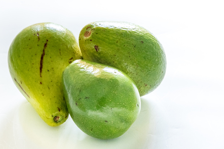 expensive food: Expensive food in Cuba: Avocados against white background. Avocados are one of the tropical fruits produced in Cuba, however, they are expensive.  The low efficient agricultural industry in Cuba necessitates import of food produce which means higher price Stock Photo