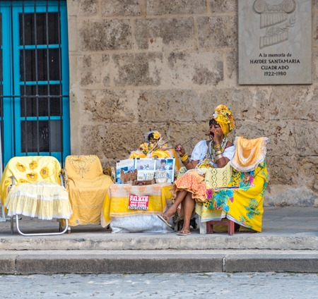 afro caribbean: Old Havana, Cuba: self employed woman selling Afro Cuban religious items  Old Havana is a Unesco World Heritage Site and a major tourist landmark in the Caribbean Island. Editorial
