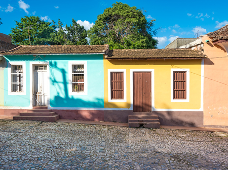 world heritage site: Trinidad de Cuba colonial architectural details. Showing multicolor vintage construction Trinidad is like an open air museum of the Spanish colony in the Caribbean Island. The major tourist landmark is a Unesco World Heritage Site
