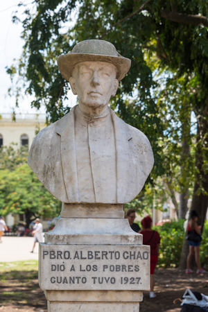 Bust of Father Alberto Chao in Leoncio Vidal plaza in Santa Clara, Cuba.   Father Alberto was a Spanish priest rooted in Cuba. He was humanistic and religious man who provided encouragement, food and everything he had to the poor and needy.