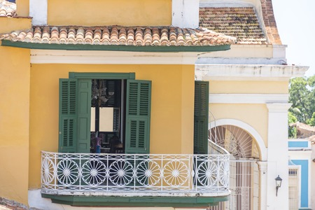 architectural heritage of the world: Trinidad de Cuba colonial architectural details. Showing multicolor vintage construction Trinidad is like an open air museum of the Spanish colony in the Caribbean Island. The major tourist landmark is a Unesco World Heritage Site