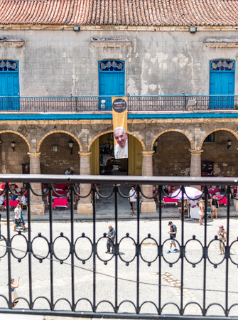 the world heritage: Old Havana Cathedral Plaza adorned with Pope Francis signs. Days before the papal visit the Unesco World Heritage Site  and major tourist landmark was adorned with welcoming signs to the leader of the Catholic church.