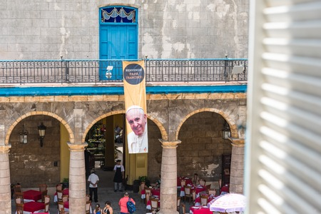 adorned: Old Havana Cathedral Plaza adorned with Pope Francis signs. Days before the papal visit the Unesco World Heritage Site  and major tourist landmark was adorned with welcoming signs to the leader of the Catholic church.
