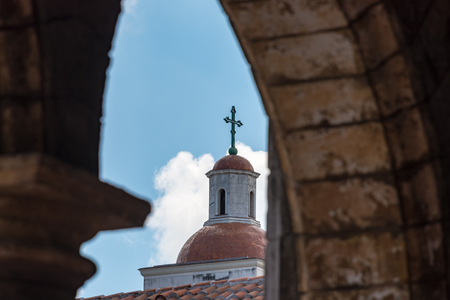 unesco world heritage site: Old Havana, Cuba: Cathedral tower detail seen from the Restaurant El Patio  Old Havana is a Unesco World Heritage Site and a major tourist landmark in the Caribbean Island. Editorial