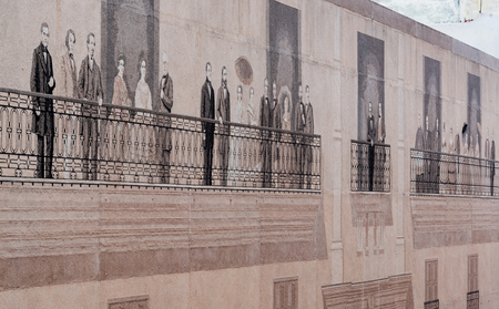 take a history: Large Mosaic Mural on Mercaderes Street. The Old Havana mural is made up of 52 panels that depict 67 outstanding figures in the history and the arts in Cuba.  Andres Carrillo is the main artist behind the piece. He used a novel material in Cuba that inclu