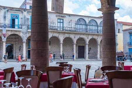 architectural heritage of the world: Old Havana views from El Patio Restaurant. The landmark is a Unesco World Heritage site and a major tourist landmark and destination in Cuba. Architectural details.
