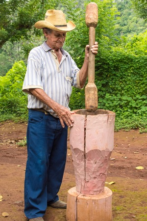 pinar: Vinales Valley in Pinar del Rio,Cuba is a Unesco World Heritage site Friendly countryman inhabitant of the valley grinding coffee  in a large wooden mortar