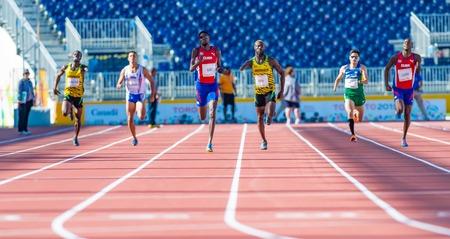 primer lugar: Atletismo en Toronto 2015 Juegos Parapanamericanos: Sr. Blanco en representación de Cuba entra en primer lugar en el evento de pista y campo. Editorial
