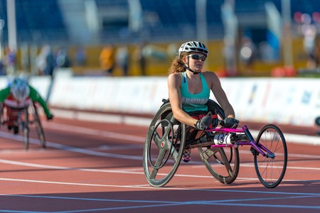 visually: Athletics in Toronto 2015 Parapan Am Games: Jessica Lewis from Bermuda sets new Parapan Am Record and wins the first ever medal for Bermuda in Womens 100m T53 Final during the Parapan Am Games 2015 in Toronto.