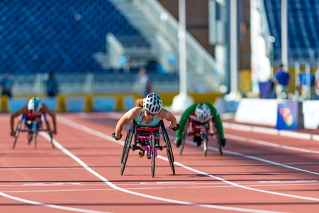 challenged: Athletics in Toronto 2015 Parapan Am Games: Jessica Lewis from Bermuda sets new Parapan Am Record and wins the first ever medal for Bermuda in Womens 100m T53 Final during the Parapan Am Games 2015 in Toronto.