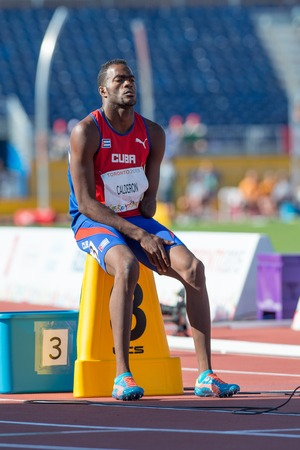 paralympic: Athletics in Toronto 2015 Parapan Am Games: Mr. Calderon representing Cuba in the Track and Field events. He is concentrating in the race to come. Editorial
