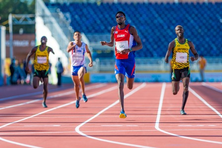 Atletiek in Toronto 2015 Parapan Am Games: Mr. Blanco vertegenwoordigt Cuba komt de eerste plaats in de atletiek evenement.