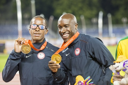 david brown: David Brown sets a new Parapan Am Record timing 10.95 in the Mens 100m T11 Final during the Parapan Am Games 2015 in Toronto. His guide is Jerome Avery