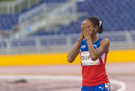 world record: Omara Duran from Cuba wins semifinal 2 of the Womens 100m T12 setting World Record with 11.65. The Athletics day of the Parapan Am Games was marked by rain