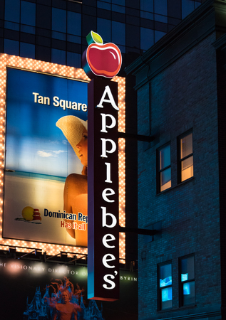 franchises: New York City, USA: Applebees sign outside the premises during night time Applebee�s International, Inc. is an company which develops, franchises, and operates the Applebees Neighborhood Grill and Bar restaurant chain.