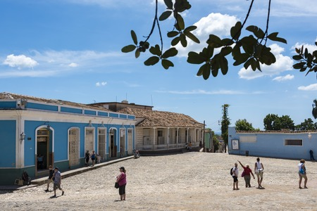 world heritage site: Entrance to main plaza in Trinidad, Cuba. In the area the tourist finds major attractions in the Unesco World Heritage Site.