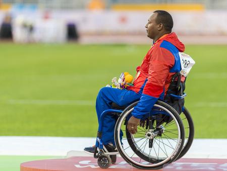 lanzamiento de disco: Leonardo D�az de Cuba gana la medalla de oro en lanzamiento de disco F54 los hombres  5556 final durante los Juegos Parapanamericanos de Toronto