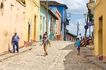 everyday scenes: General view of the Hispanic colonial architecture and everyday scenes in Trinidad,Cuba. Trinidad is a Unesco World Heritage Site and a major tourist landmark in the Caribbean Island Editorial