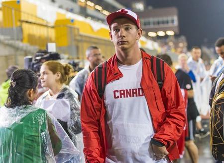 lanzamiento de disco: Kevin Strybosh (centro) de Canad� establece nuevos Am�ricas registro en el lanzamiento de disco Final de la Competencia de atletismo durante los Juegos Parapanamericanos de Toronto Editorial