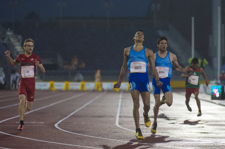 the americas: Hernan Barreto sets new Americas Record and wins the first Gold Medal for Argentina in the Mens 100m T35 Final  during the Toronto Parapan Am Games