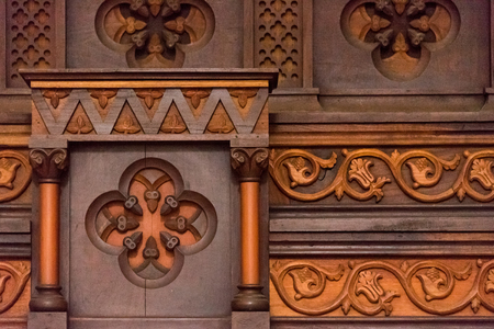 focal point: Carved wood details in the Iglesia Catedral de la Santisima Trinidad interior details. Located in the Plaza Mayor, the massive tower of the Cathedral Church is the focal point of the town. This 19th-century church took from 1817 to 1892 to complete and is