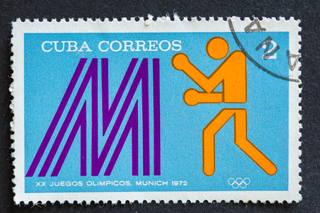 deportes olimpicos: Stamps used for mail by Cuban citizens, a series devoted to depict sports played at the 1972 Olympic games held at Munich,  like: boxing Editorial