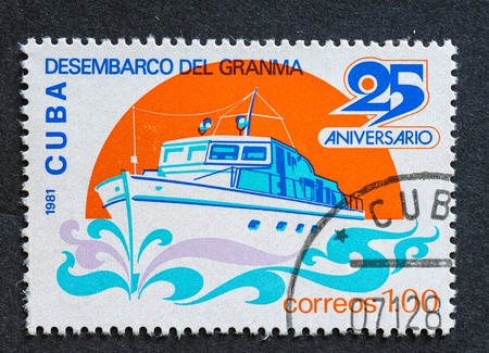 heroism: Cuban Revolution postage stamp named Desembarco del Granma. Stamps used for the Cuban public, a series developed in 1981 depicting acts of heroism in the Cuban Revolution