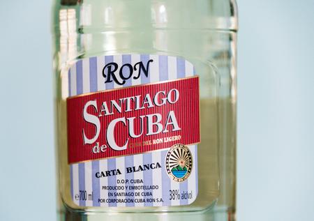 rhum: Santiago de Cuba rum bottle.  The Cuban rhum Santiago is one of the preferred brands by the Cuban people.
