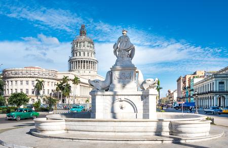 capitolio: The Indian Fountain or Fuente de la India. Important white marble statue in Central Havana close to the Capitolio