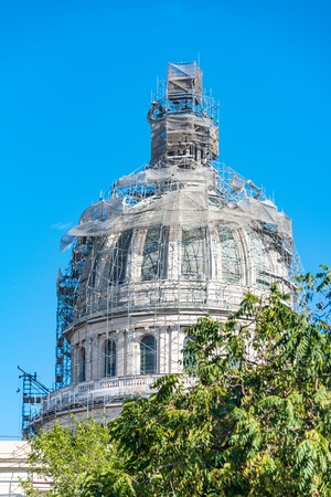 capitolio: El Capitolio, or National Capitol Building being under repair, This building is one of Cuba most famous tourist landmark Stock Photo