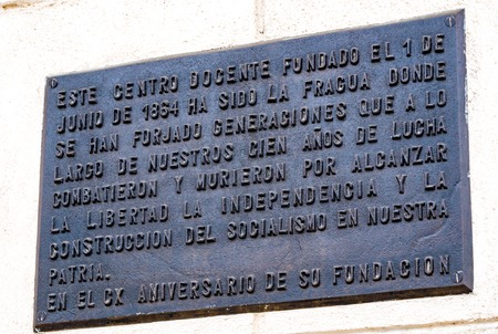 majority: Instituto de Segunda Ensenanza historic plaque. Cuban National Monument. The eclectic building served as educational center during the colony. The majority of its students joined the fight for the independence of Cuba from Spain.
