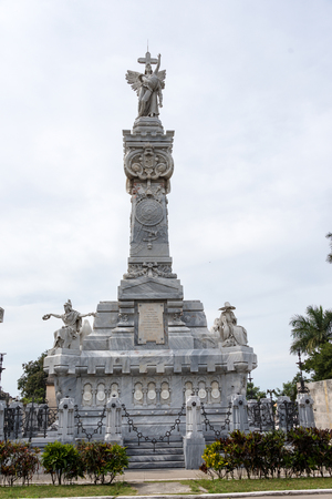 cristobal colon: Colon cementery: Firefighters monument details. The sculpture in the highest point in the landmark  The Cementerio de Colon is among the five most important in the world. It contains many valuable sculpture and the tombs of many important Cuban personalit