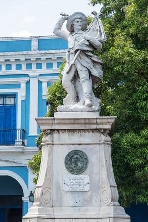 local landmark: Monument to the Cuban Independence Wars. Located by the Calixto Garcia bridge and across the Fire Station of the city, the white marble statue is an local landmark