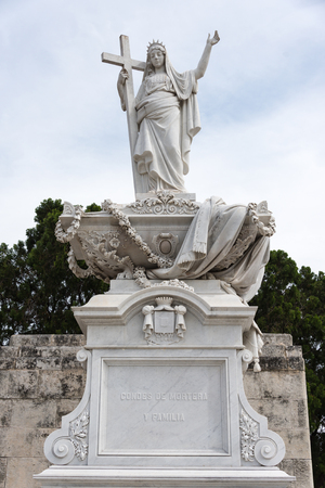 Colon cementery: religion themed statues or sculptures made in white marble  The Cementerio de Colon landmark is among the five most important in the world. It contains many valuable sculpture and the tombs of many important Cuban personalities.