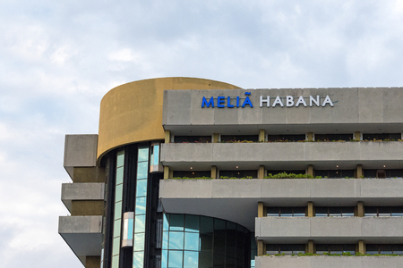 destress: Melia Habana exterior facade architectural detail. Located in Havana�s quiet and quaint Miramar district the Melia Habana is a Cuba hotel offering plenty of ways for you to unwind and de-stress on your Cuba vacation.