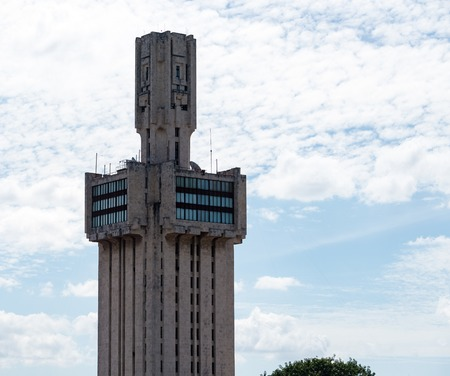 communists: Russian embassy building tower.  The Embassy of Russiby architect Aleksandr Rochegov is a striking constructivist building in the Miramar district of the city. Stock Photo