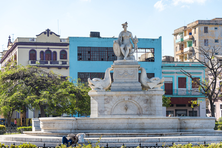 paseo: Fountain of the Indian woman is a fountain by Giuseppe Gaggini at the south extreme of Paseo del Prado, about 100 m south of El Capitolio.  The figure represents the Indian woman Habana in whose honor Havana was named.