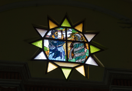 lazarus: Saint Lazarus or San Lazaro church. Stained glass detail.   The church is located inside the former Valencia Father Nursing Home which is currently the School of Music. Editorial