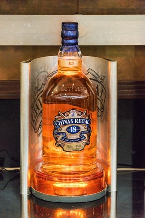 18 year old: Chivas Regal bottle, 18 Year Old Blended Scotch Whisky.