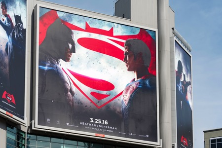 batman: Batman V Superman: Dawn of Justice advertisements in Dundas Square.  The film is a 2016 American superhero film featuring the DC Comics characters Batman and Superman, distributed by Warner Bros. Pictures.