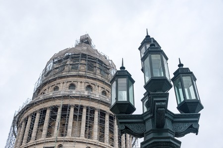 capitolio: Vintage light post from Colonial times near The Capitolio under reconstrution.
