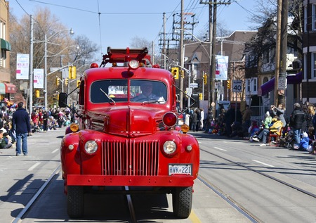 notorious: Old vintage Toronto fire truck in the Lions Club Easter parade which celebrates its 50th anniversary