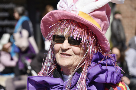 notorious: Senior woman marching in the Lions Club Easter parade which celebrates its 50th anniversary