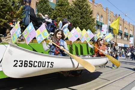 notorious: Girls rowing in float during the Lions Club Easter parade which celebrates its 50th anniversary